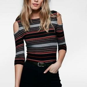 FREE PEOPLE striped cold shoulder top